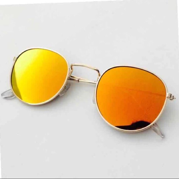 Other - Red Gold Mirrored Frame Sunglasses